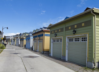 Garages behind row of townhouses