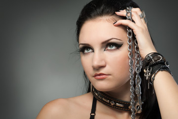 young naked woman in chain