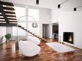 Fototapety Interior mit kamin und treppe 3d