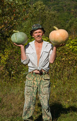 Man with pumpkins 1