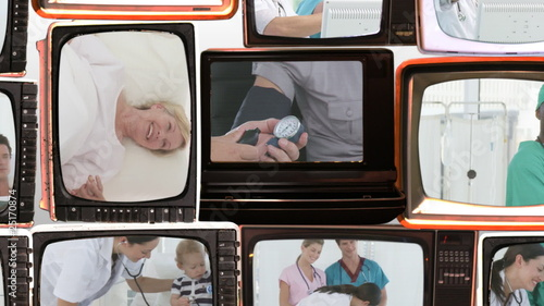 collage of hospital life footage on retro television