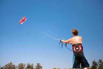 Kitesurfer in action on Goa beach ,  India