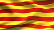 Creased Catalonia satin flag in wind with seams and wrinkle