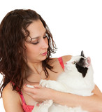 Communication beautiful girl with a favorite cat. poster