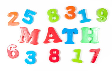 numbers and math, written in fridge magnets