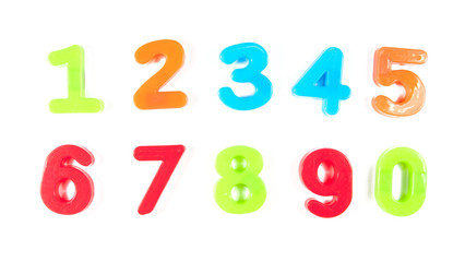 numbers, written in fridge magnets