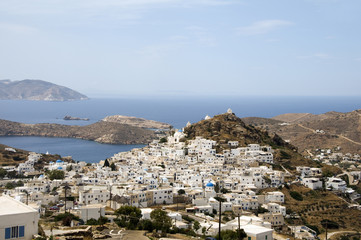 the chora capital landscape with view of aegean sea Ios Cyclades