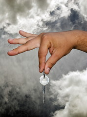 Man Handing Over the House Keys , Clouds and Sky.
