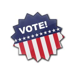"""Estrella brillante barras y estrellas con texto """"VOTE!"""""""