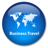 BUSINESS TRAVEL Button (international world map global class) poster