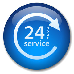 24 HOUR SERVICE Web Button (7 days opening hours customer duty)