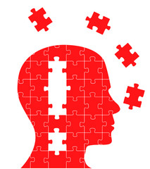 Puzzle concept head with exclamation mark in it vector