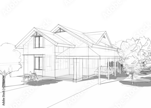 3D illustration of a large house in blueprint style - 25180696