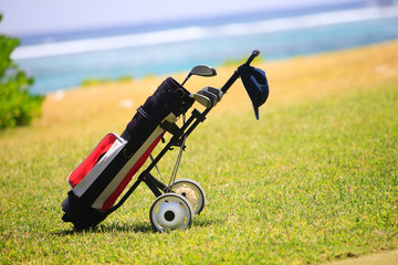 Golf bag on coastal field