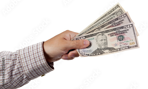 Cash in Hand isolated on white