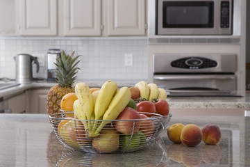 bowl of fruit in modern kitchen