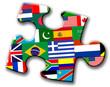 Pieza de puzzle con banderas de paises