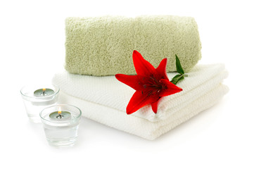 spa  theme with red lily