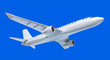 Airplane in the air isolated on blue sky. my own design