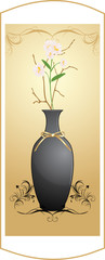 Black vase with bouquet of flowers on the decorative background