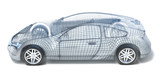 Fototapety Sport Car Wireframe. Left view
