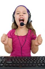 Mädchen  mit Headset, wutanfall