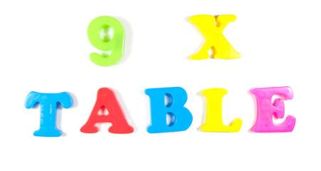 9 times table, written in fridge magnets