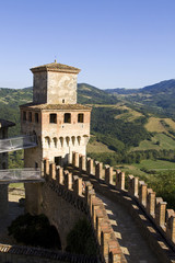Rampart walk and tower of the Vigoleno castle, Italy