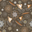 seamless pattern of ornamental birds and flowers