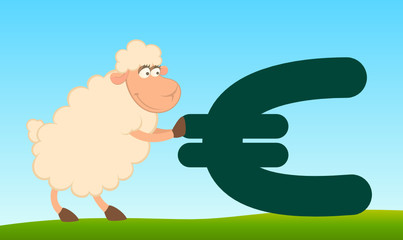 cartoon sheep with the sign of euro