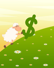 cartoon sheep with the sign of dollar
