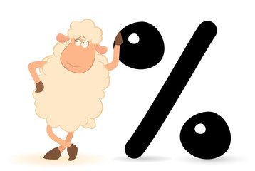 cartoon sheep with the sign of percent