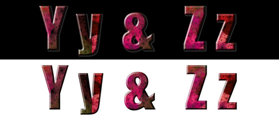 Set Alphabet Letters over Black and White Y & Z