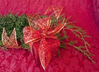 Christmas gift with greenery