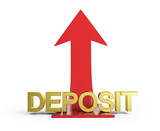moving deposit arrow  on a white background poster