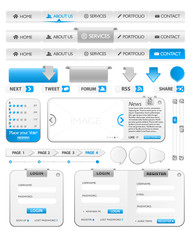 Web design elements pack 2 with silver and blue color