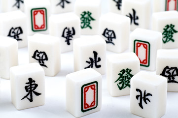 Mahjong bricks with hieroglyphs on a white background