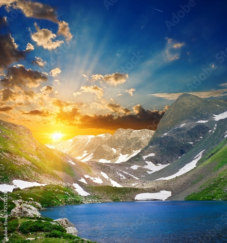 majestic sunset on a mountain lake