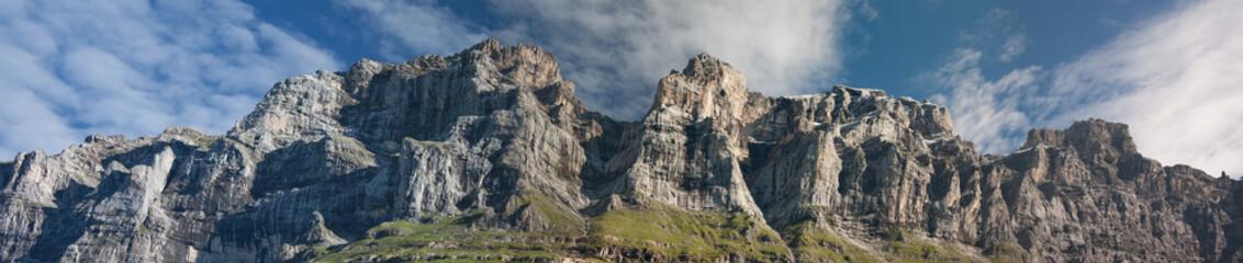 Panorama of green swiss mountains