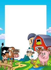 Frame with barn and farm animals