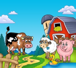 Red barn with farm animals