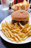 American cheese burger with French-fries
