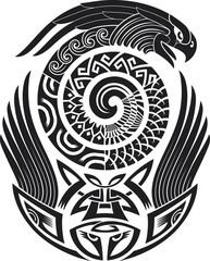 Snake-bird tattoo pattern