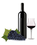 A wine bottle and glass of wine and some grapes. Vector.