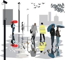 Rainy day reflections illustration