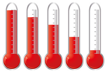 Set of thermometers with different levels of indicator fluid