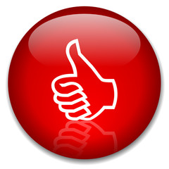 THUMBS UP Web Button (satisfaction opinion ok yes like positive)