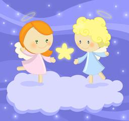 coppia di dolci angioletti con stella splendente