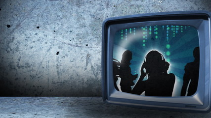 animation of women dancing in television screen