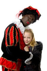 girl is hugging black pete over white background